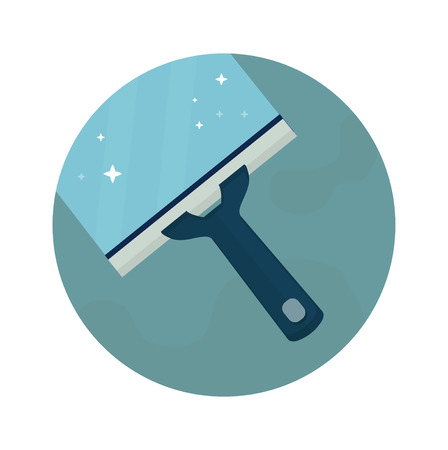 Squeegee, scraper, wiper.Baby diaper. Vector flat cartoon illustration icon design. Isolated on white backgroung. Cleaning windows, floor, bathroom concept