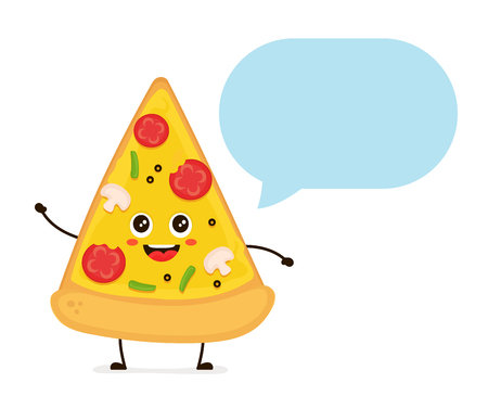 Cute smiling funny cute pizza slice with speech bubble. Ilustração