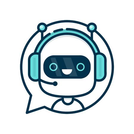 귀여운 미소 재미 로봇 채팅 연설 거품에 로봇을 웃 고. 벡터 현대 평면 만화 캐릭터 illustration.Isolated 흰색 배경에. 음성 지원 서비스 채팅 봇, 가상 온 일러스트