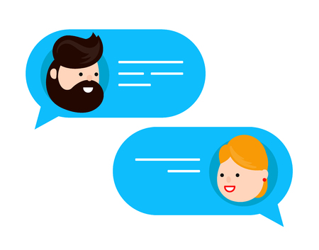 Man chatting with woman. Vector flat modern style cartoon character illustration icon design. Isolated on white background. Dialog message,chat concept