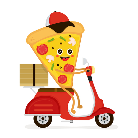Cute smiling funny cute pizza slice  rides on scooter with parcel.Vector modern flat style cartoon character illustration.Isolated on white background.Pizza slice,speed fast food delivery concept