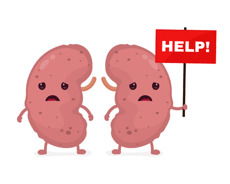 Sad unhealthy sick kidneys vector illustration Stock Illustratie
