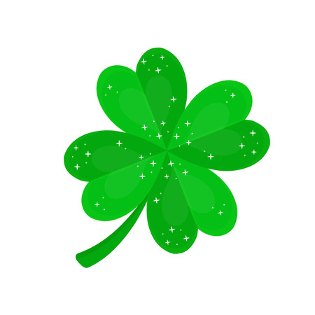 Four-leaf clover for luck.Vector flat cartoon illustration icon design. Isolated on white backgroung. Luck concept Illustration