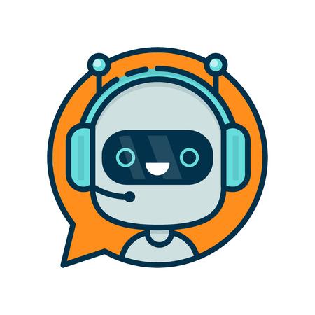 Cute smile funny robot chat bot na bolha de fala. Ilustração de personagem de desenho animado plana e moderna do vetor. Isolada no fundo branco. Assistente de suporte ao chat de chat, suporte virtual ao cliente de ajuda on-line Ilustración de vector