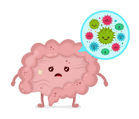 Microscopic bad bacterias. microflora, viruses in sick unhealthy Intestine. Vector flat illustration icon cartoon character design. Human intestine microflora. Digestive tract or alimentary canal