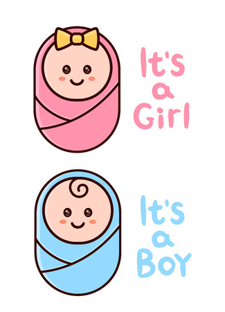 It's a Girl,Boy card. Baby shower greeting card with hand drawn lettering text. Vector flat cartoon outline illustration icon design. Isolated on white background. Newborn concept