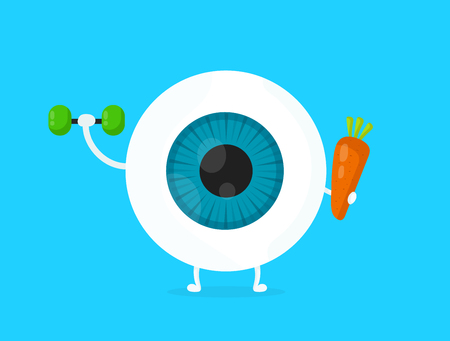 Strong healthy white eye, eyeball doing exercises with dumbbells and carrot character. Vector flat cartoon illustration icon design. Isolated on blue backgound