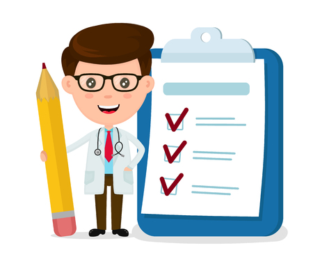 Happy smiling doctor with pencil, clipboard, checklist completed. Vector modern flat style cartoon character illustration. Isolated on white background. Medicine doctor concept.