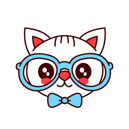 Cute smiling, funny hipster cat in glasses and butterfly tie face. Vector cartoon character illustration. Design for child card, t-shirt boy, kid. Children cat, kitty concept. Isolated on white background. Çizim