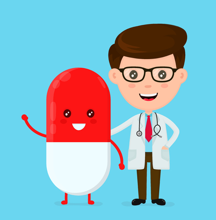 Cute funny, smiling doctor and happy pill. Healthcare, medical, friends, doctor concept. Vector flat cartoon character icon design. Isolated on blue background.