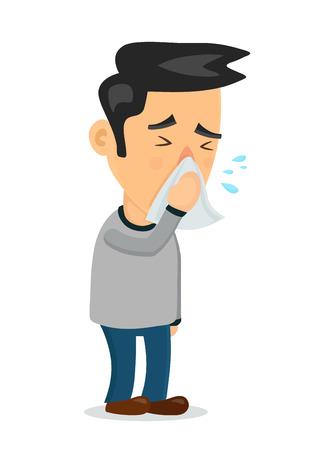 Persona estornudando carácter de hombre. Diseño de icono de ilustración de dibujos animados plano de vector. Ilustración de vector