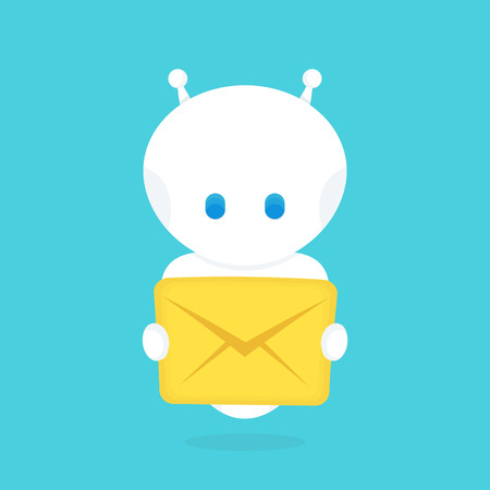 Cute happy smiling funny robot chat bot with with new letter,message.Vector flat cartoon character illustration icon design. Illustration