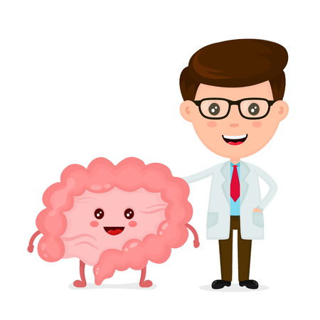 Cute funny, smiling doctor and healthy happy intestines. Healthcare, medical, friends, doctor concept. Vector flat cartoon character icon design. Isolated on white background.