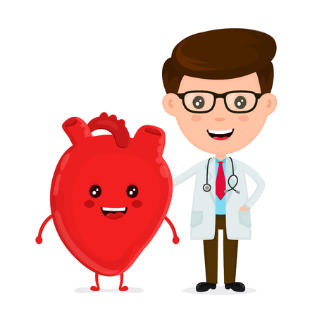 Cute funny, smiling doctor and healthy happy heart. Healthcare, medical, friends, doctor concept. Vector flat cartoon character icon design. Isolated on white background.