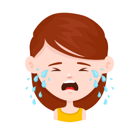 Women young girl crying. Vector flat cartoon character icon design. Isolated on white background. Cry, tears concept.