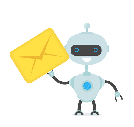 Cute happy, smiling funny robot chat bot with with new letter, message. Vector flat cartoon character illustration icon design. Isolated on white background. Smart robot bot concept.