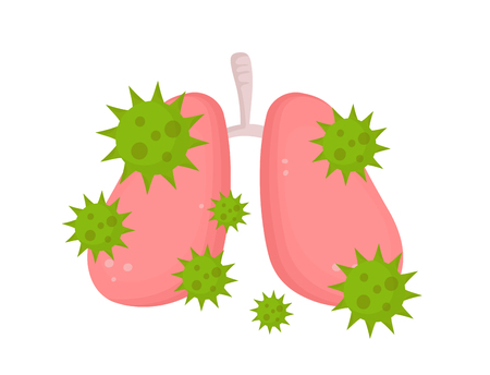 Sick unhealthy lungs with disease angry virus. Vector modern style cartoon character illustration icon design. Isolated on white background. Sick lungs with virus microbe concept. 일러스트