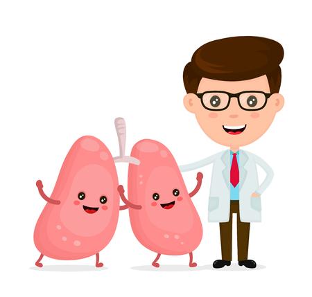 귀여운 재미, 웃는 의사와 건강 한 행복 한 폐 그림. 일러스트