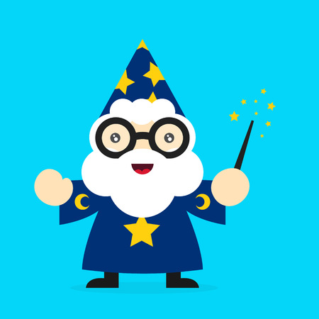 Cute funny smiling wizard. Vector modern flat style cartoon character illustration. Isolated on white background. Magic,wizard concept Illustration