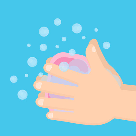 Pair of hands washing with soap and bubbles. 일러스트