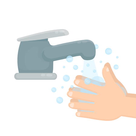 Pair of hands washing using soap and bubbles. Hand washing. Ilustração