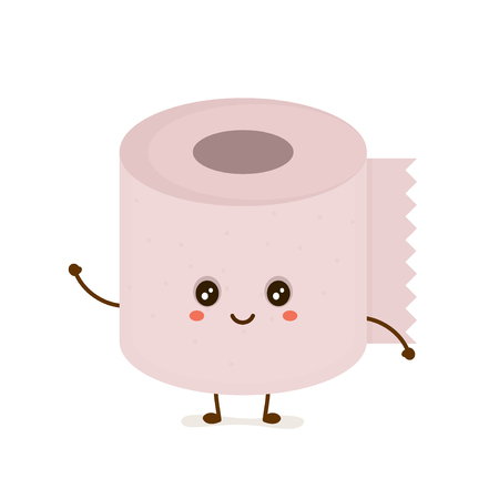 Funny happy cute smiling toilet paper vector