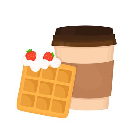 Waffle vienense com chantiliy e morangos e copo de café. Projeto liso do ícone da ilustração dos desenhos animados do vetor. Isolado no conceito branco da sobremesa do fast food do fundo. Foto de archivo - 94457667