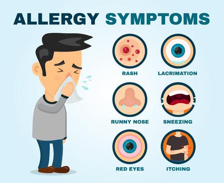 Síntomas de alergia problema infográfico. Diseño plano del icono del ejemplo de la historieta del vector Estornudo persona personaje hombre.