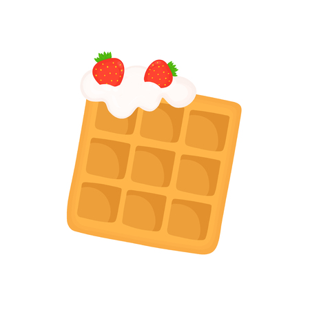 Viennese waffle with whipped cream and strawberries. Vector flat cartoon illustration icon design.
