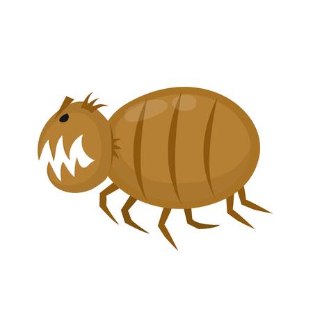 Divertida enojada pulga. Parásitos de las mascotas. Icono plano del ejemplo del personaje de dibujos animados del vector. Aislado en blanco backgrou Ilustración de vector