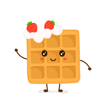 Cute smiling funny Viennese waffle with whipped cream and strawberries. . Illustration