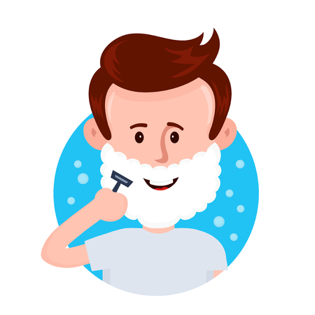 Young man shaving face with foam Vector flat cartoon character illustration icon design. Isolated on white background. Man caring for himself,shaving concept  イラスト・ベクター素材