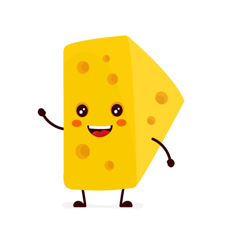Funny, cute smiling cheese vector illustration Ilustracja