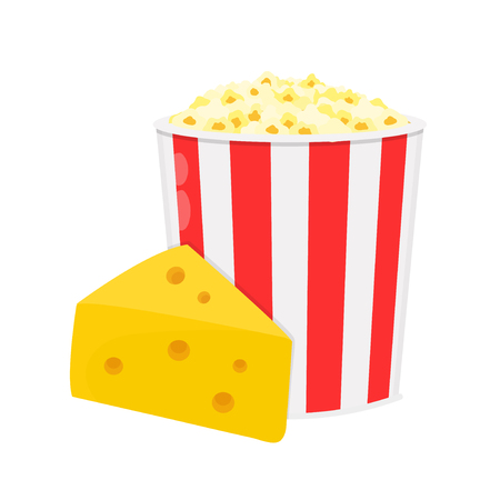 Bucket of popcorn with cheese. Vector flat cartoon character illustration icon. Isolated on white background.