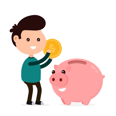 Young happy cute smiling funny man tosses a coin into a piggy bank. Vector flat cartoon character illustration icon design. Isolated on white background. Piggy bank,moneybox, money concept 向量圖像