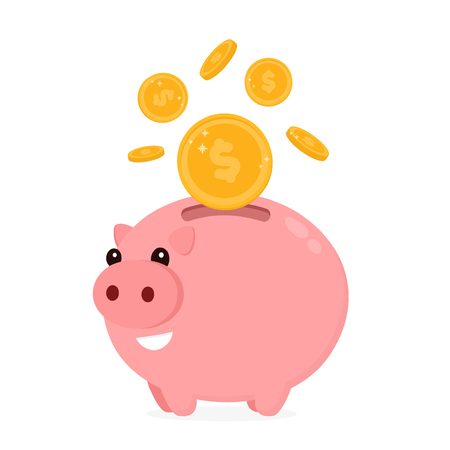 Happy cute funny smiling piggy bank with coin. Vector flat cartoon character illustration icon. Isolated on white background.Piggy bank,moneybox, money concept