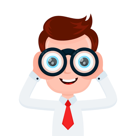 Happy funny young smiling businessman looking through binocular. Vector flat cartoon character illustration icon design. Isolated on white background.Man with binoculars concept Vettoriali