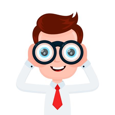 Hombre de negocios sonriente joven divertido feliz que mira con binocular. Diseño de icono de ilustración de personaje de dibujos animados plano de vector. Aislado sobre fondo blanco Hombre con concepto de binoculares Ilustración de vector