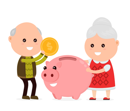 Old happy cute grandfather man and grandmother tosses a coin into a piggy bank. Vector flat cartoon character illustration icon. Isolated on white background.Piggy bank,moneybox, money,pension concept