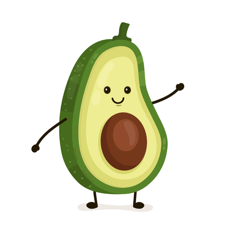 Funny happy cute happy smiling avocado. Vector flat cartoon character illustration icon. Isolated on white background. Fruit avocado concept Ilustração