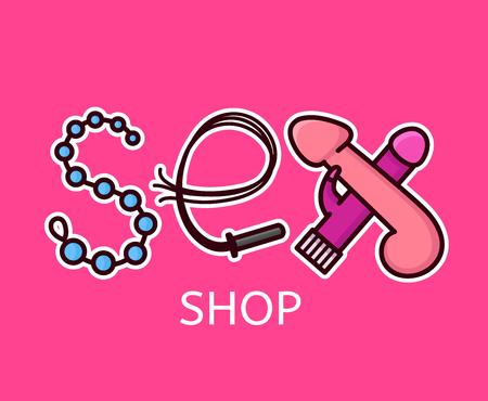 Création de logo de sex shop. Lettres sexuelles de jouets intimes. Conception d'icône de vecteur ligne plate style moderne illustration dessin animé Isolé sur fond rose. Concept de modèle de boutique