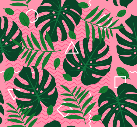 Abstract modern trendy style hipster geometry seamless pattern background design with tropical palm leaves,plant.  Trendy creative vector.Leaves,leaf,nature,geometry seamless pattern concept