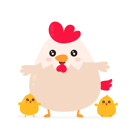Cute smiling happy funny cock with little chickens.Vector flat cartoon character illustration icon desgin. Isolated on white background. Chicken concept  イラスト・ベクター素材