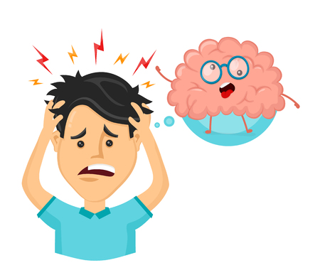 Young man with strees,headache. Funny cute crazy mad sick brain. Vector flat cartoon character illustration design. Mental,psychological problem,ache concept