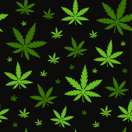 Marijuana,green weed, dope seamless pattern. Vector illustration background design isolated on black background.Marihuana leaf,herb,narcotic,smoke weed,textile concept