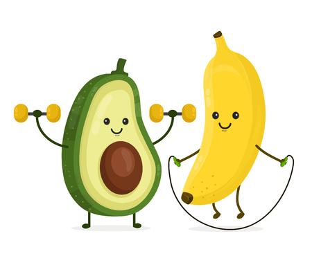 Carino sorridente felice banana e avocado facendo esercizi Illustrazione del personaggio dei cartoni animati di stile piatto moderno di vettore. Isolato su sfondo bianco. Cibo sano, fitness, banana, concept design di avocado