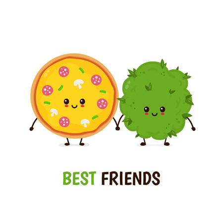 Funny smiling happy marijuana weed bud and pizza.Vector flat cartoon character illustration icon design.Isolated on white background.Weed bud,marijuana,ganja, cannabis,pizza, best friends card concept
