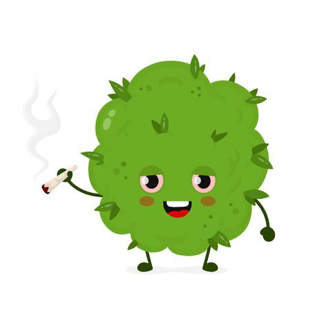 Mignon drôle souriant heureux joint de fumée de bourgeon d'herbe de marijuana. Conception d'icône d'illustration de personnage de dessin animé plat vecteur. Isolé sur fond blanc. Bourgeon de mauvaises herbes, marijuana, concept de cannabis médical, récréatif