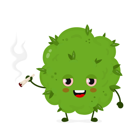 Cute funny smiling happy marijuana weed bud smoke joint. Vector flat cartoon character illustration icon design. Isolated on white background.Weed bud ,marijuana,medical,recreation cannabis concept