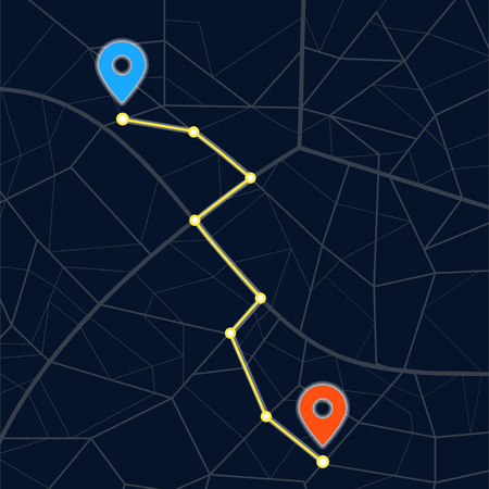 Navigation concept with pin pointer. Vector flat cartoon illustration icon deisign.A point on the map. Get directions. Route planning. Build route. The direction of itinerary. Starting point concept Stock Illustratie